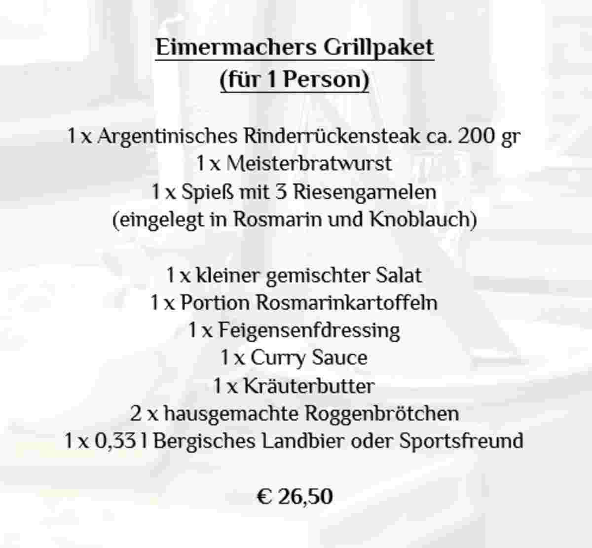 Lecker essen in Engelskirchen, Grillpaket zum Abholen im Restaurant Eimermacher, Bleiben Sie zu Hause, Außer Haus in Overath und Umgebung, Außer Haus in Gummersbach und Umgebung